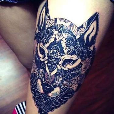 Cool Wolf on Thigh Tattoo