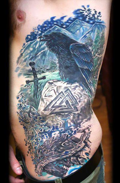 Crow on Ribs for Men Tattoo Idea