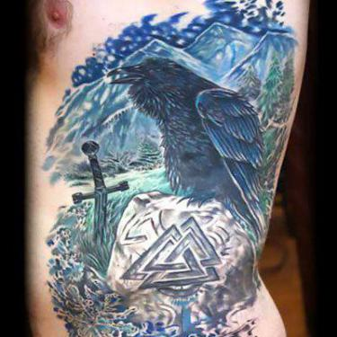 Crow on Ribs for Men Tattoo