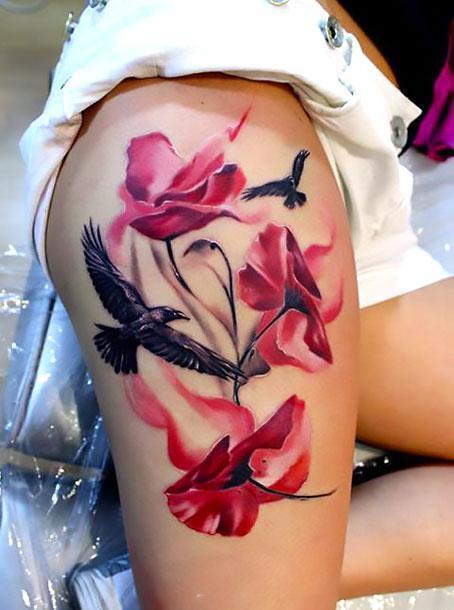 Crows on Thigh Tattoo Idea