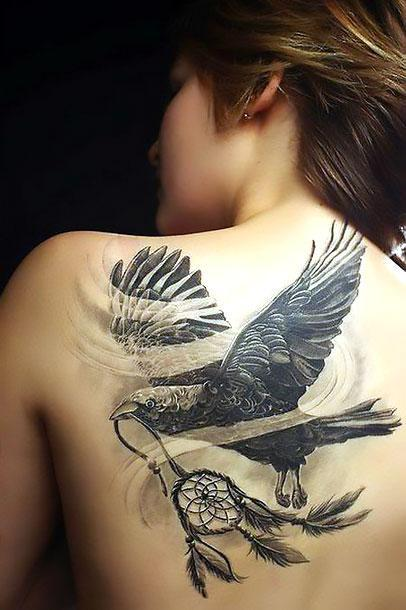 Crow With Dreamcatcher Tattoo Idea