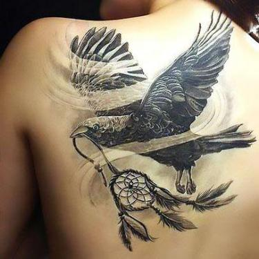 Crow With Dreamcatcher Tattoo