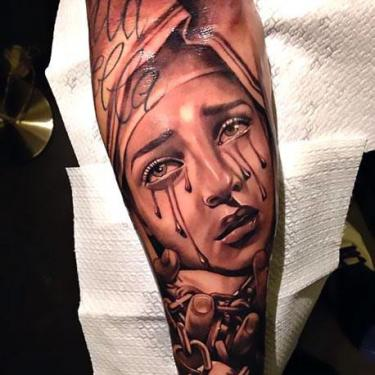 Crying Girls Face Tattoo