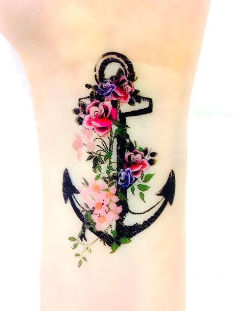 Cute Anchor on Wrist Tattoo Idea