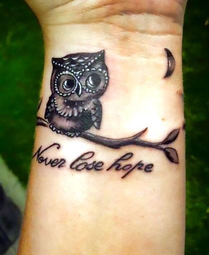Cute and Lovely Small Owl Tattoo Idea