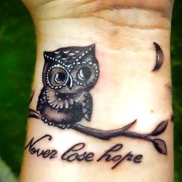 Cute and Lovely Small Owl Tattoo
