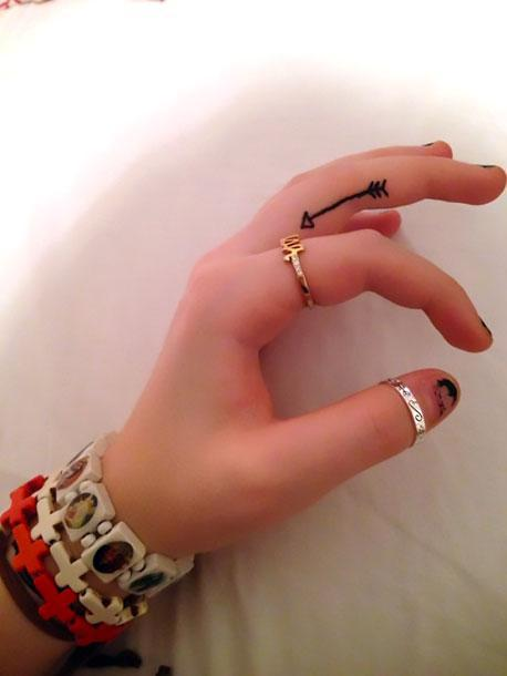 Cute Arrow on Finger Tattoo Idea