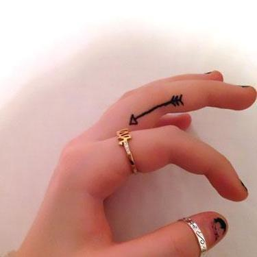 Cute Arrow on Finger Tattoo