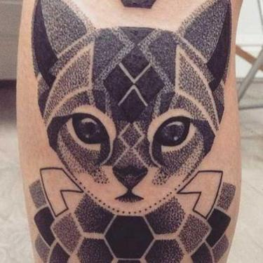 Dotwork Cat Tattoo