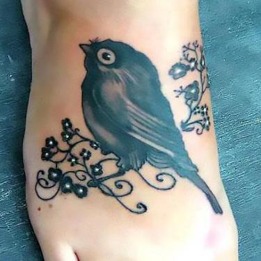 Cute Blackbird Nestling on Foor Tattoo