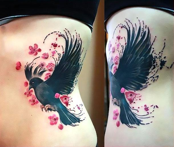 Cute Blackbird on Side Tattoo Idea