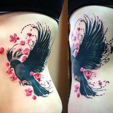 Cute Blackbird on Side Tattoo