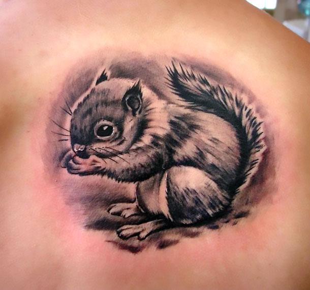 Cute Black Squirrel Tattoo Idea