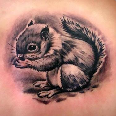 Cute Black Squirrel Tattoo