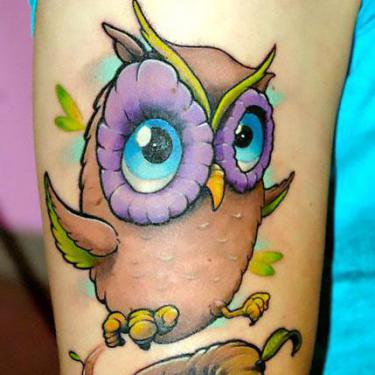 Cute Cartoon Owl Tattoo