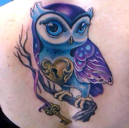 Cute Feminine Owl Tattoo Idea