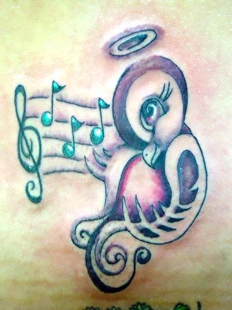 Cute Funny Songbird Tattoo Idea