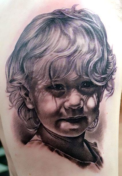 Cute Girl Portrait Tattoo Idea