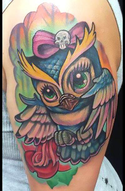 Cute Girly Owl Tattoo Idea