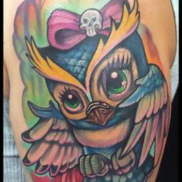 Cute Girly Owl Tattoo