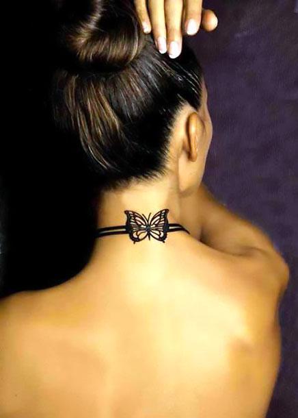 Cute Neck Butterfly Tattoo Idea