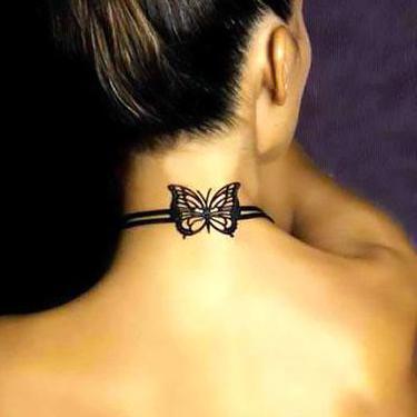 Cute Neck Butterfly Tattoo