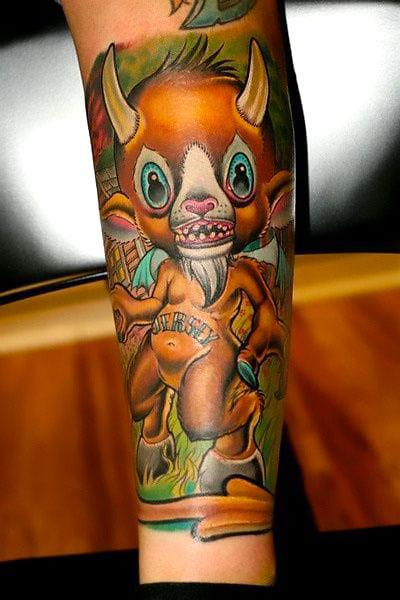 Cute New School Devil Tattoo Idea