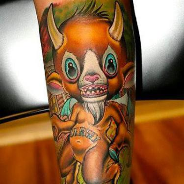 Cute New School Devil Tattoo