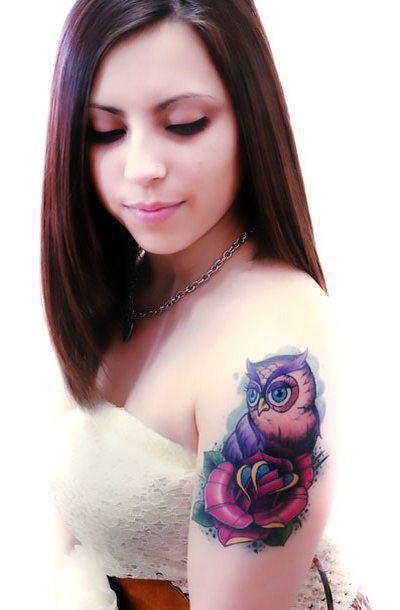 Cute Owl on Shoulder Tattoo Idea