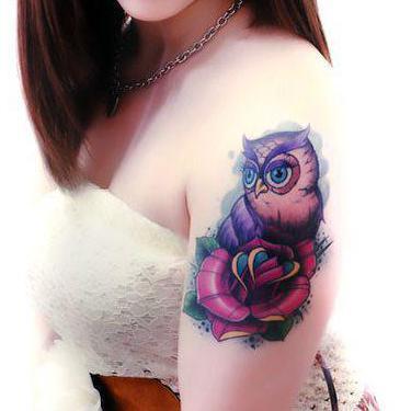 Cute Owl on Shoulder Tattoo