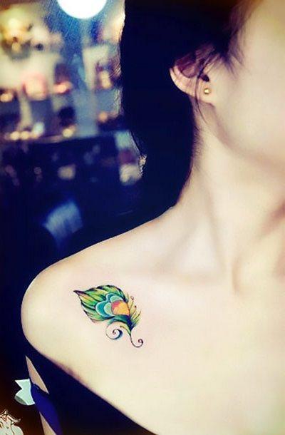 Cute Peacock Feather Tattoo Idea