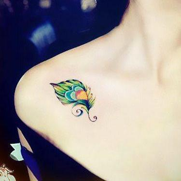 Cute Peacock Feather Tattoo