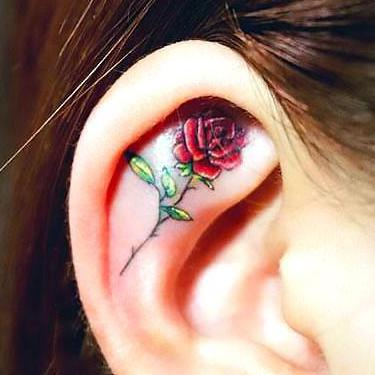 Cute Rose Ear Tattoo