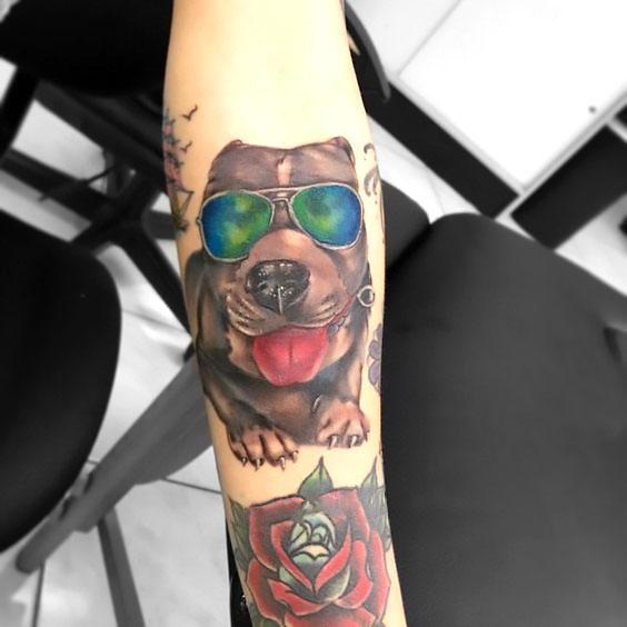 Pitbull With Sunglasses Tattoo Idea