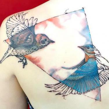 Amazing Bluebird in Triangle Tattoo