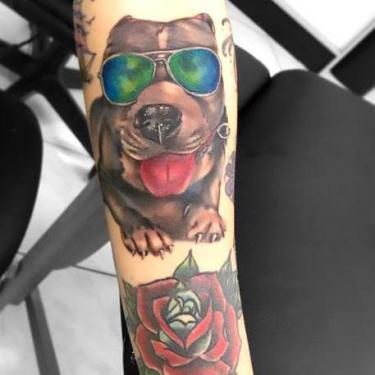 Pitbull With Sunglasses Tattoo