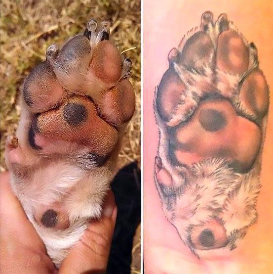 Puppy Paw Print Memorial Tattoo Idea