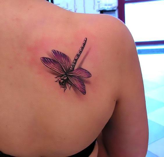 Purple 3D Dragonfly Tattoo Idea