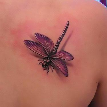 Purple 3D Dragonfly Tattoo