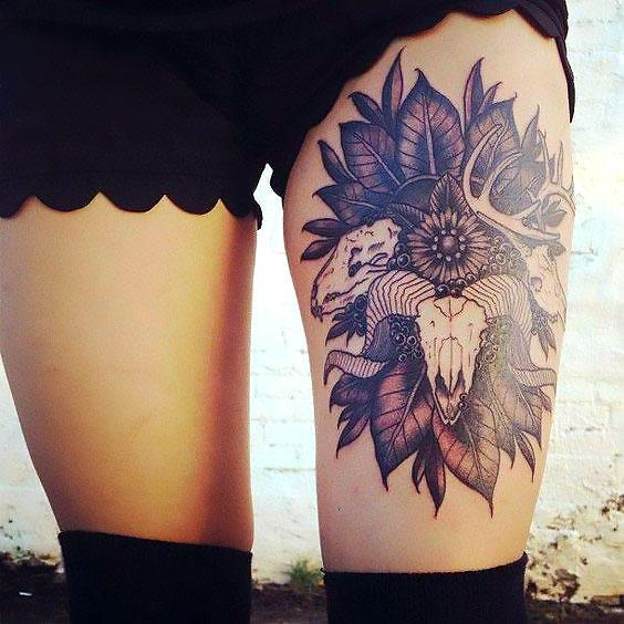 Ram Head Thigh Tattoo Idea