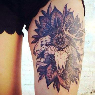 Ram Head Thigh Tattoo