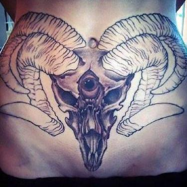 Ram Head With 3rd Eye Tattoo
