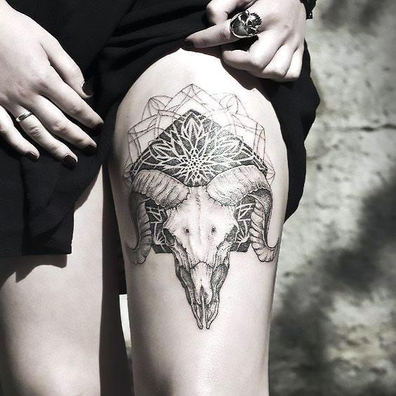 Ram Skull Mandala Tattoo Idea