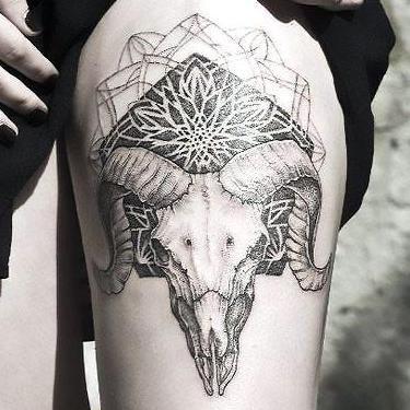 Ram Skull Mandala Tattoo