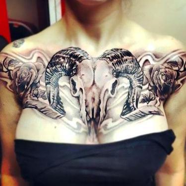 Ram Skull on Chest Tattoo