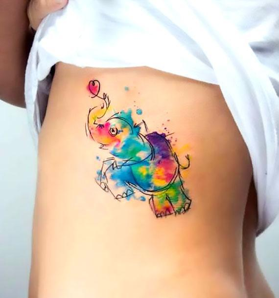 Cute Watercolor Elephant Tattoo Idea