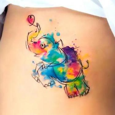 Cute Watercolor Elephant Tattoo