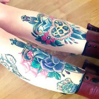 Daggers on Shins Tattoo