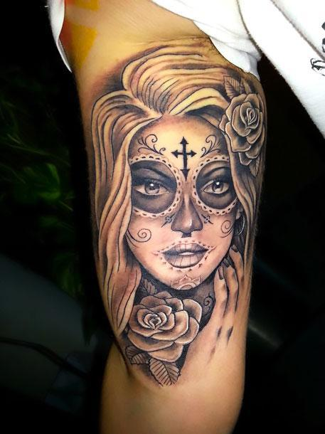 Day of The Dead Girl on Bicep Tattoo Idea