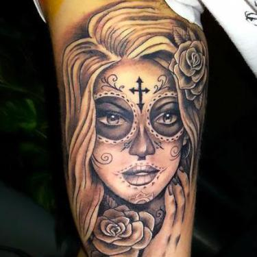 Day of The Dead Girl on Bicep Tattoo